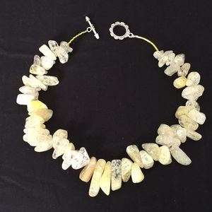 Jewelry - Springtime yellow handcrafted quartz necklace.